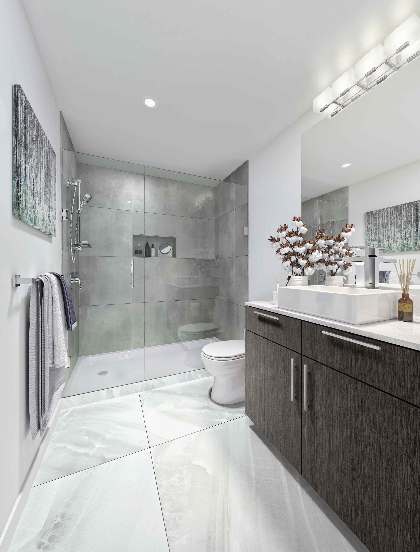 A photo of a unit bathroom